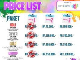 Price List Indoindians Holi Color Run Jan 2020