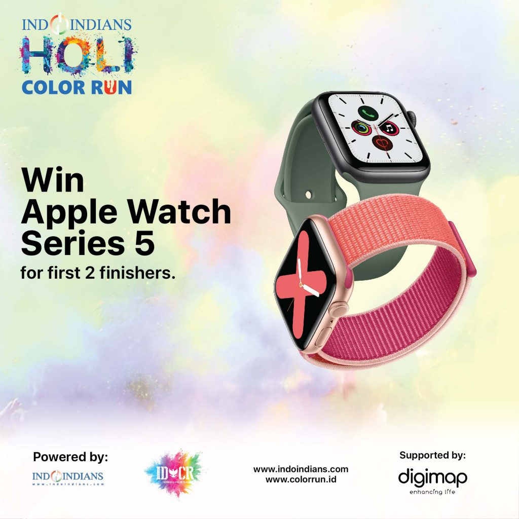 Digimap sponsors 2 Apple series watch 5 series to first 2 finishers at Holi Color Run