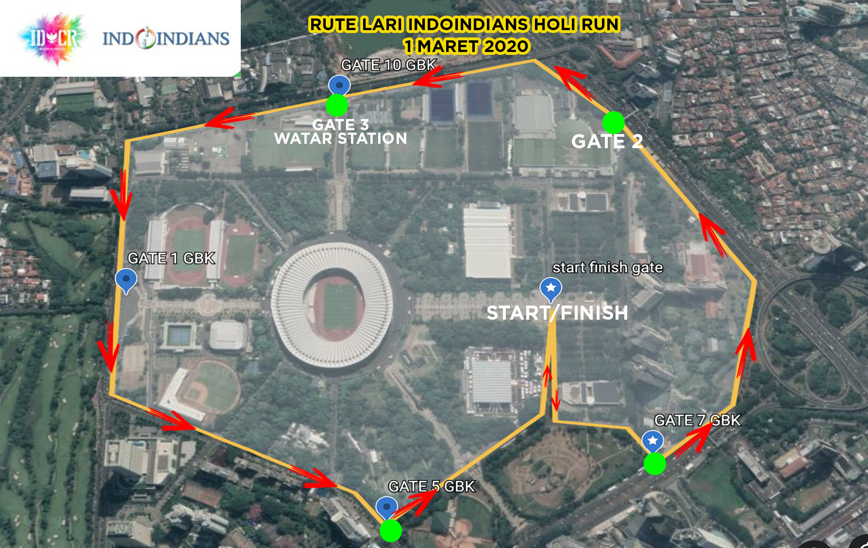 IDCR IndoIndians Holi Color Run 1st March Route