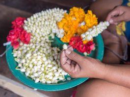 making flower garland