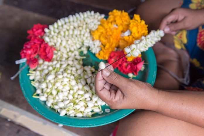 making flower garland