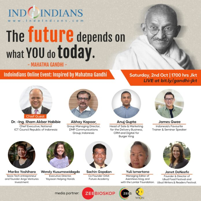 Indoindians online event inspired by Gandhi on 2nd oct 2021