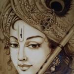 Coffee painting 'Krishna' by Shanthi Seshadri