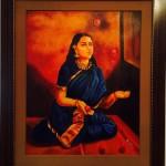 The Lady Juggler - Oil painting on canvas by Shanthi Seshadri