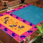 Paithani silk Rangoli with colors by Shanthi Seshadri