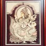 Goddess Saraswathi - Kalamakari on Fabric by Shanthi Seshadri