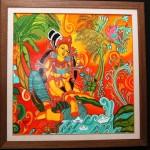 Kerala Mural - acrylic on canvas by Shanthi Seshadri