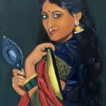 Lady with the Mirror - Oil on canvas by Shanthi Seshadri