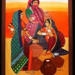 Tribal Ladies - Acrylic on Canvas by Shanthi Seshadri