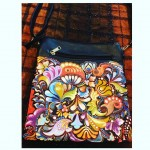 Handpainted Colorful pattern on sling bag