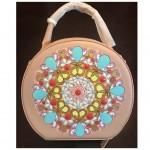 Handpainted Pattern work in jewel effect on handbag by Vibha Singh