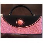 Handpainted Pattern work with dot effect on Handbag by Vibha Singh
